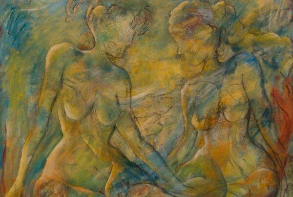 maleri Kvinder i grønt af Gunhild Rasmussen
