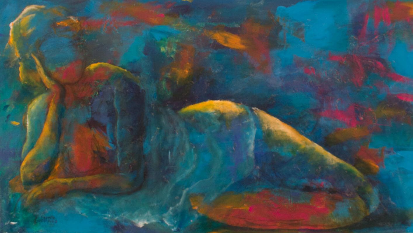 maleri Pige i blåt af Gunhild Rasmussen