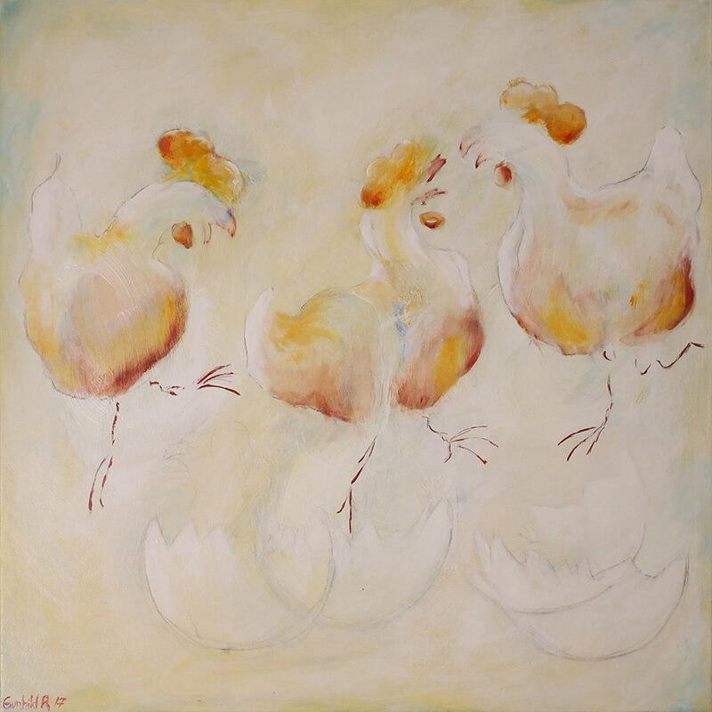 Maleri Frie høns af Gunhild Rasmussen
