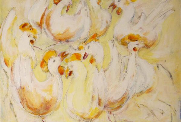 maleri Glade høns af Gunhild Rasmussen
