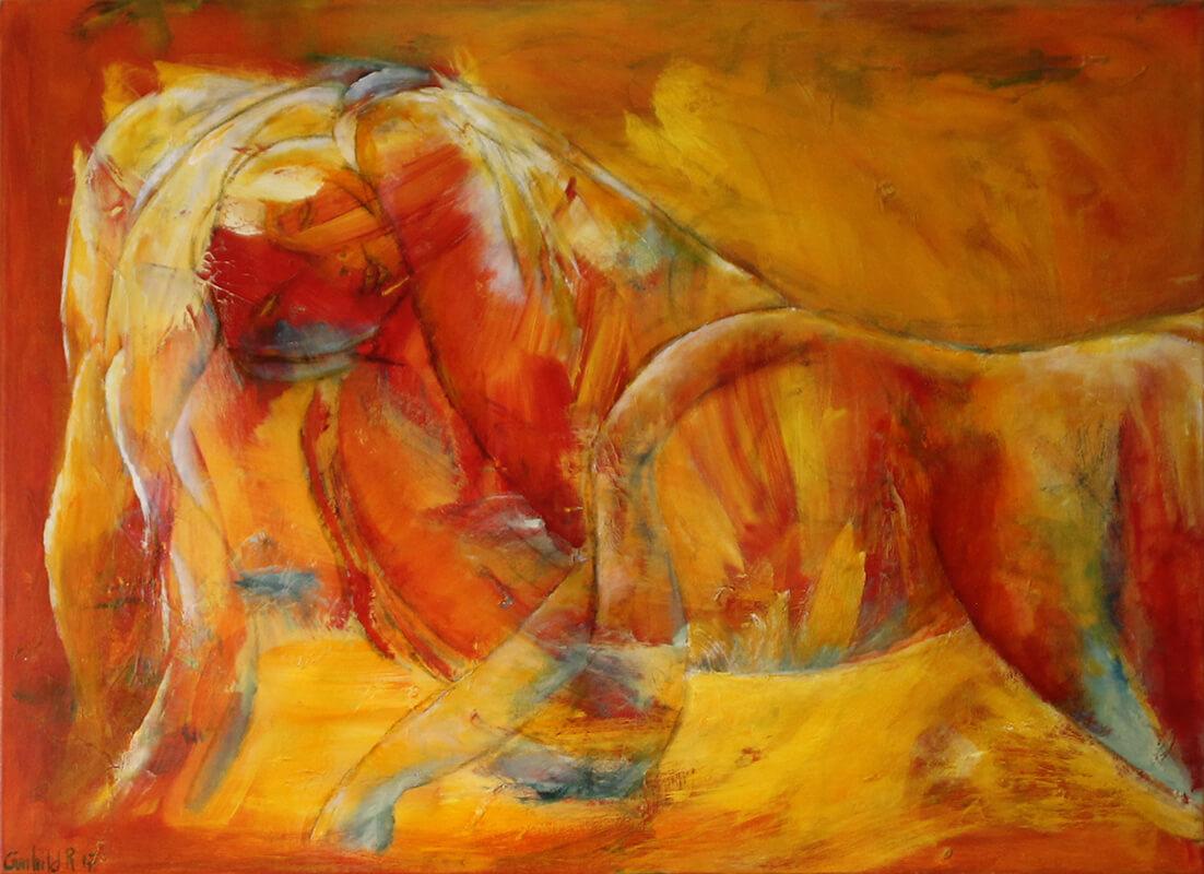 maleri Liggende pige af Gunhild Rasmussen
