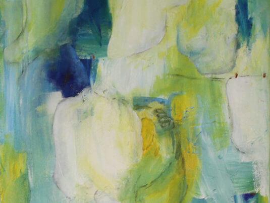 Maleri Vasketøj til tørre af Gunhild Rasmussen