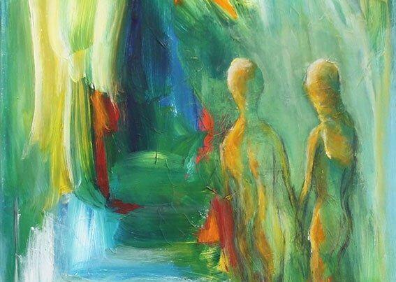 let abstrakte figurer, maleri Isen smelter af Gunhild Rasmussen