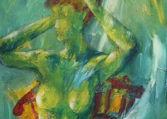 Maleri Kvinde i grønt af Gunhild Rasmussen