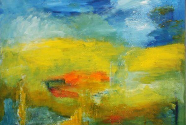 abstrakt maleri Landskab af Gunhild Rasmussen