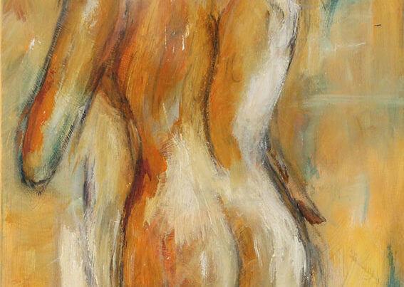 Maleri Pige i bad af Gunhild Rasmussen