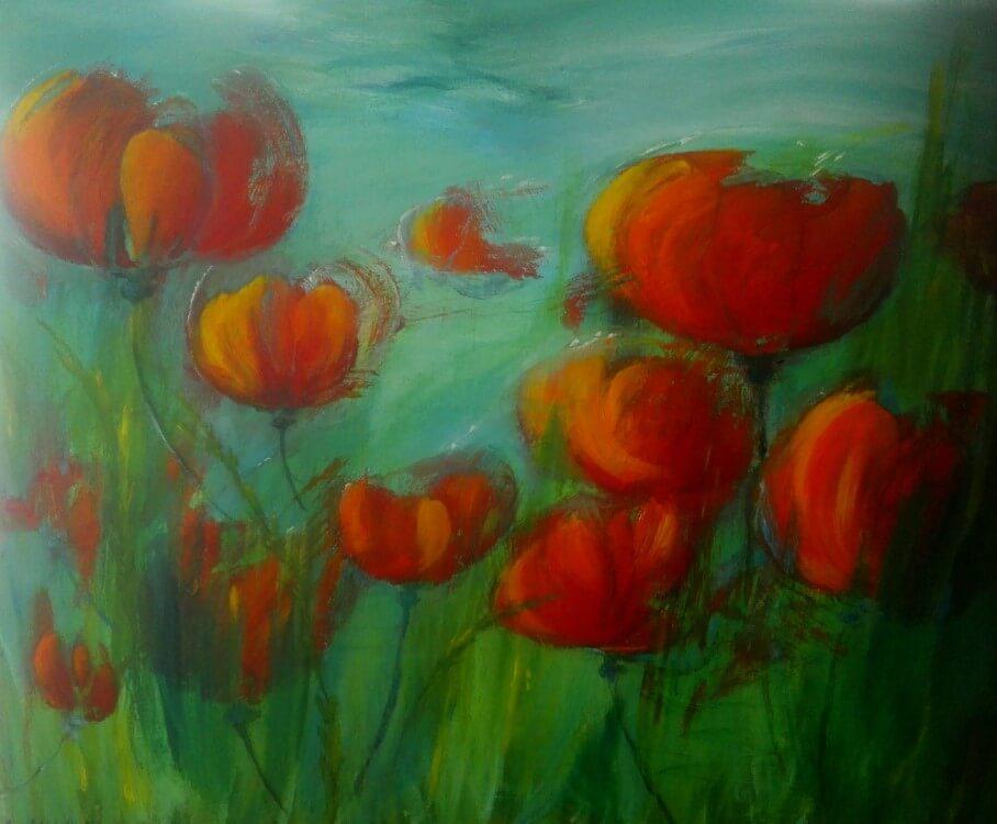 Maleri Røde Blomster af Gunhild Rasmussen