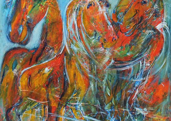 maleri Smilende heste af Gunhild Rasmussen