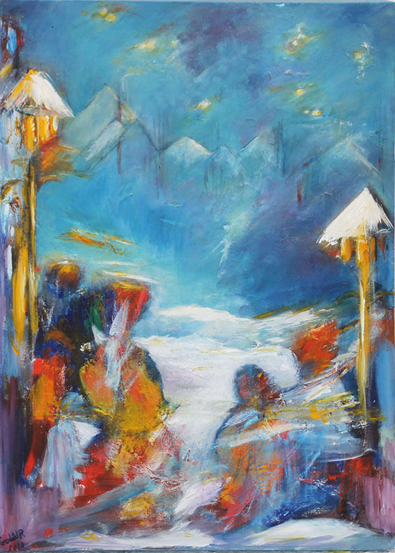 Maleri Stjerne nat af Gunhild Rasmussen