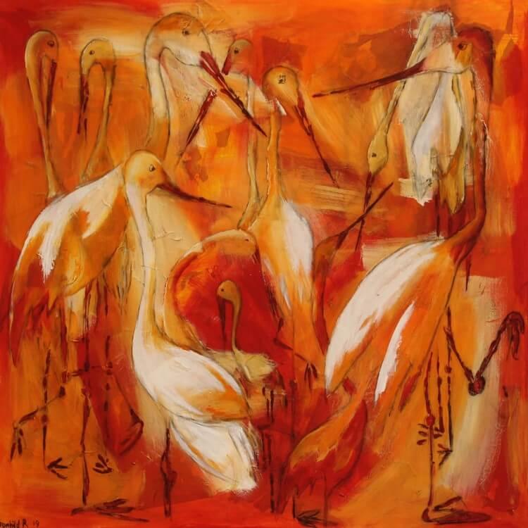 Farverige dyr maleri Storke og ikke en frø at se af Gunhild Rasmussen