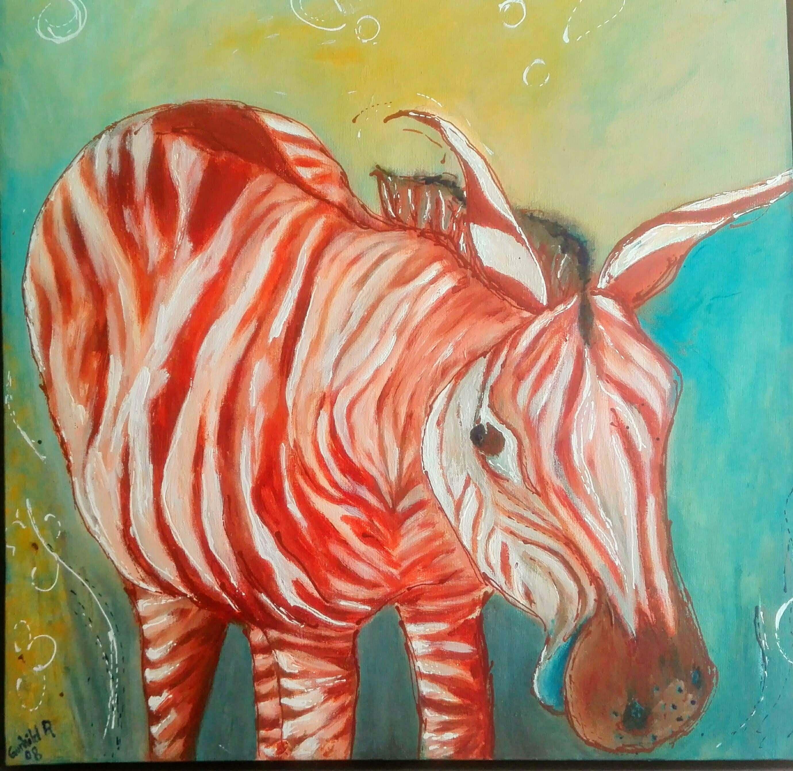 farverige let abstrakte dyr Maleri Zebra af Gunhild Rasmussen