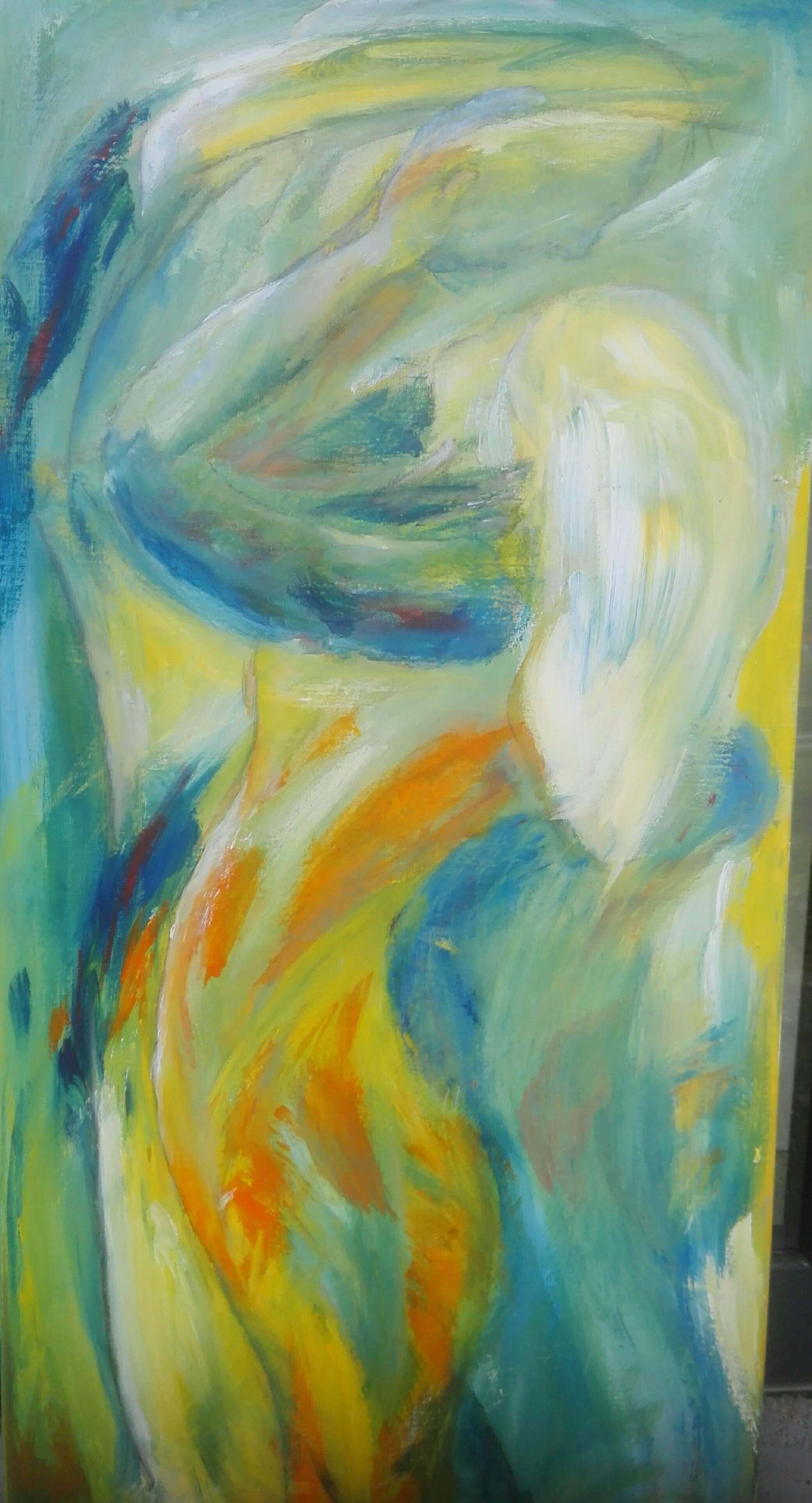 Maleri Dansende mødes af Gunhild Rasmussen