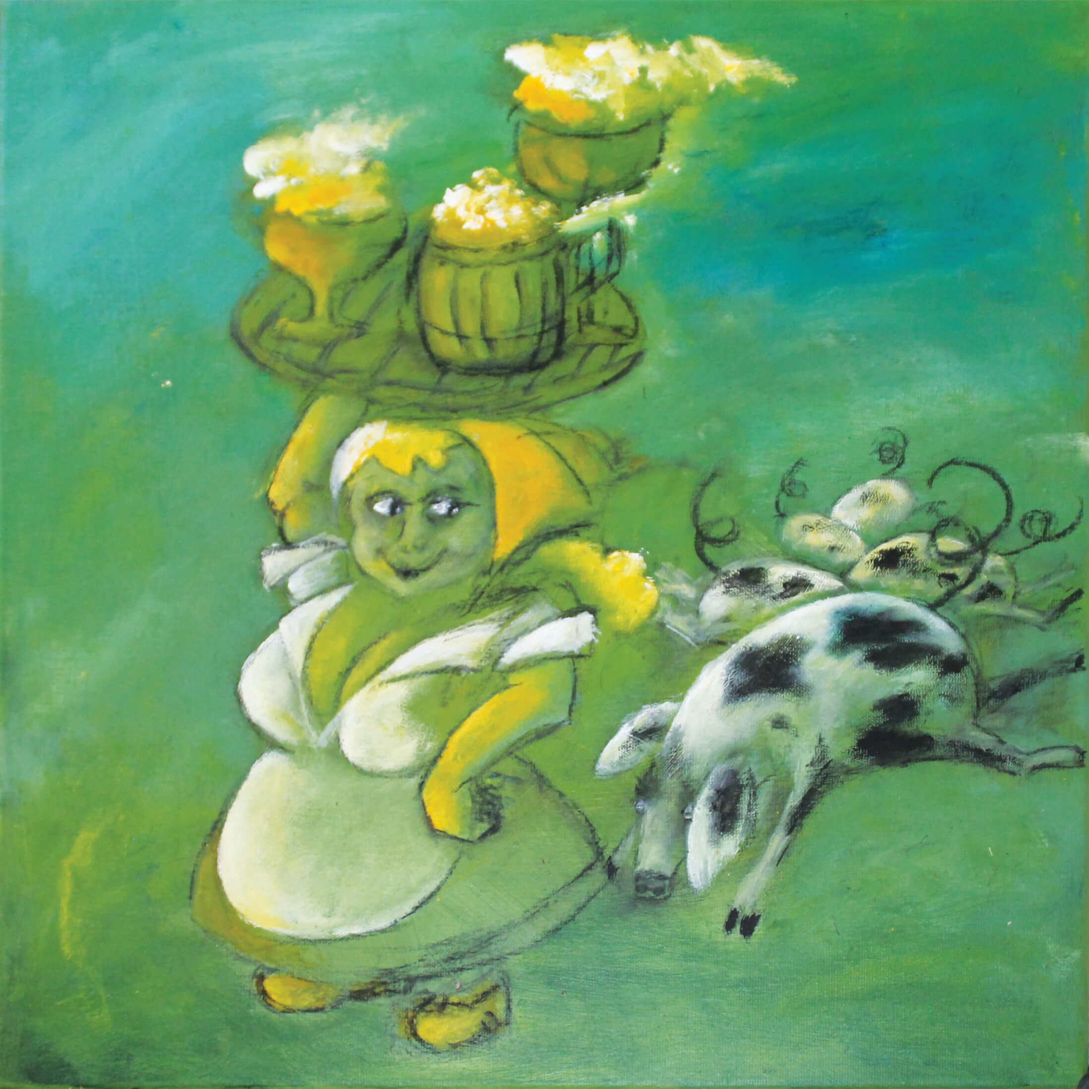maleri Bondepige af Gunhild Rasmussen