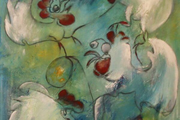 Farverige og finurlige dyr, maleri le Høns og 2 æg af Gunhild Rasmussen