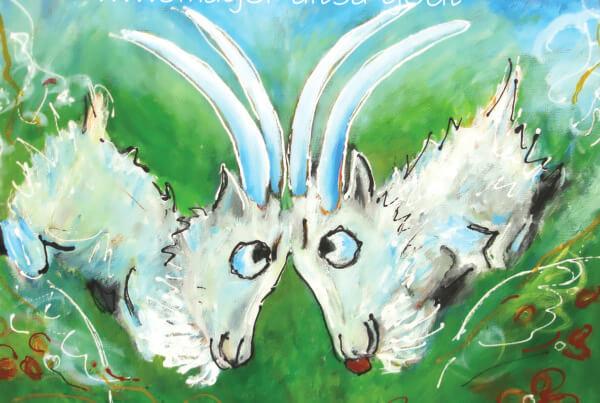 Farverige finurlige dyr , maleri Kamp på engen af Gunhild Rasmussen