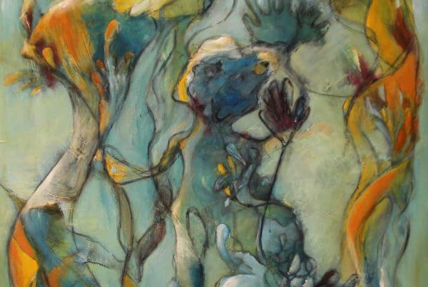 let abstrakt maleri af Gunhild Rasmussen