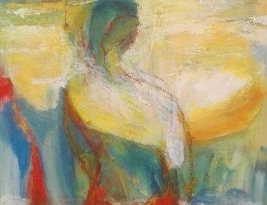 let abstrakt kvinde maleri af Gunhild Rasmussen