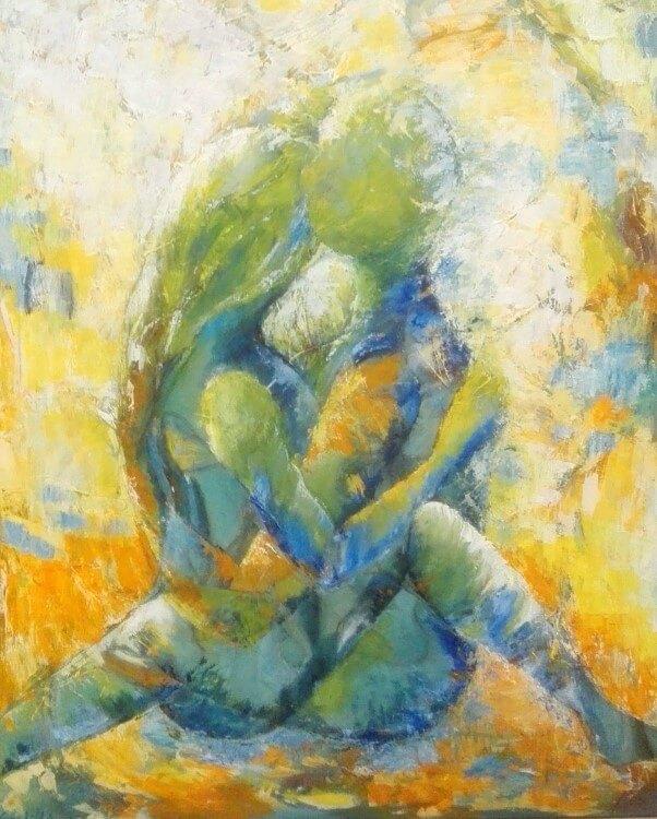 let abstrakte figurer Maleri Lyset af Gunhild Rasmussen