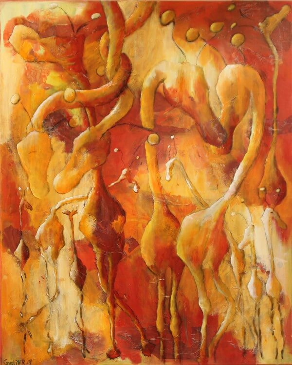 Let abstrakt maleri Røde Giraffer af Gunhild Rasmussen
