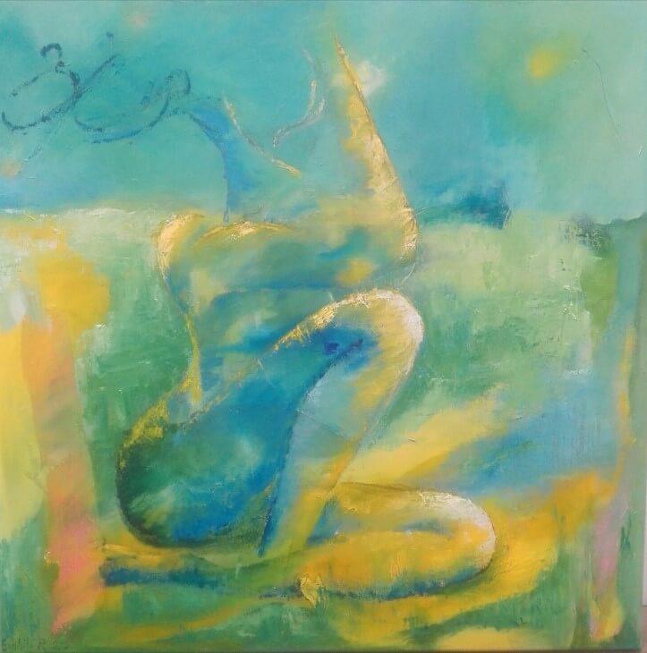 Let abstrakt maleri Kvindeligt landskab af Gunhild Rasmussen