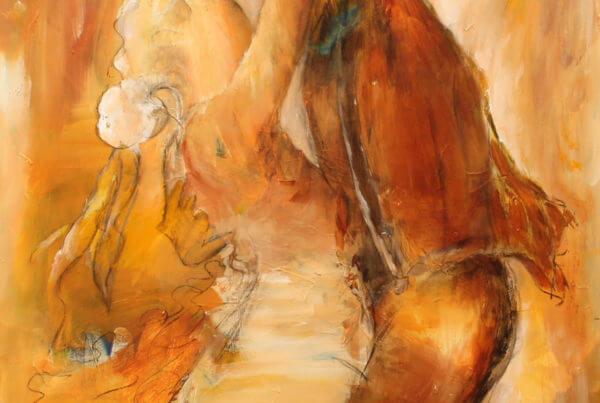 Farverigt maleri af par er danser, maleri af Gunhild Rasmussen