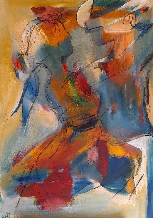 farverigt let abstrakt maleri Tango i farver 1 af Gunhild Rasmussen