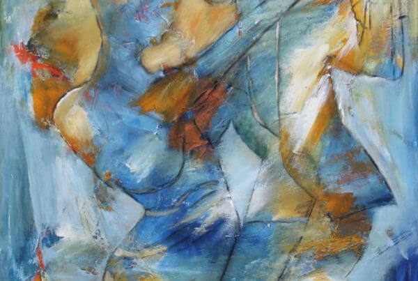 Farverigt maleri Blå swingtime af Gunhild Rasmussen
