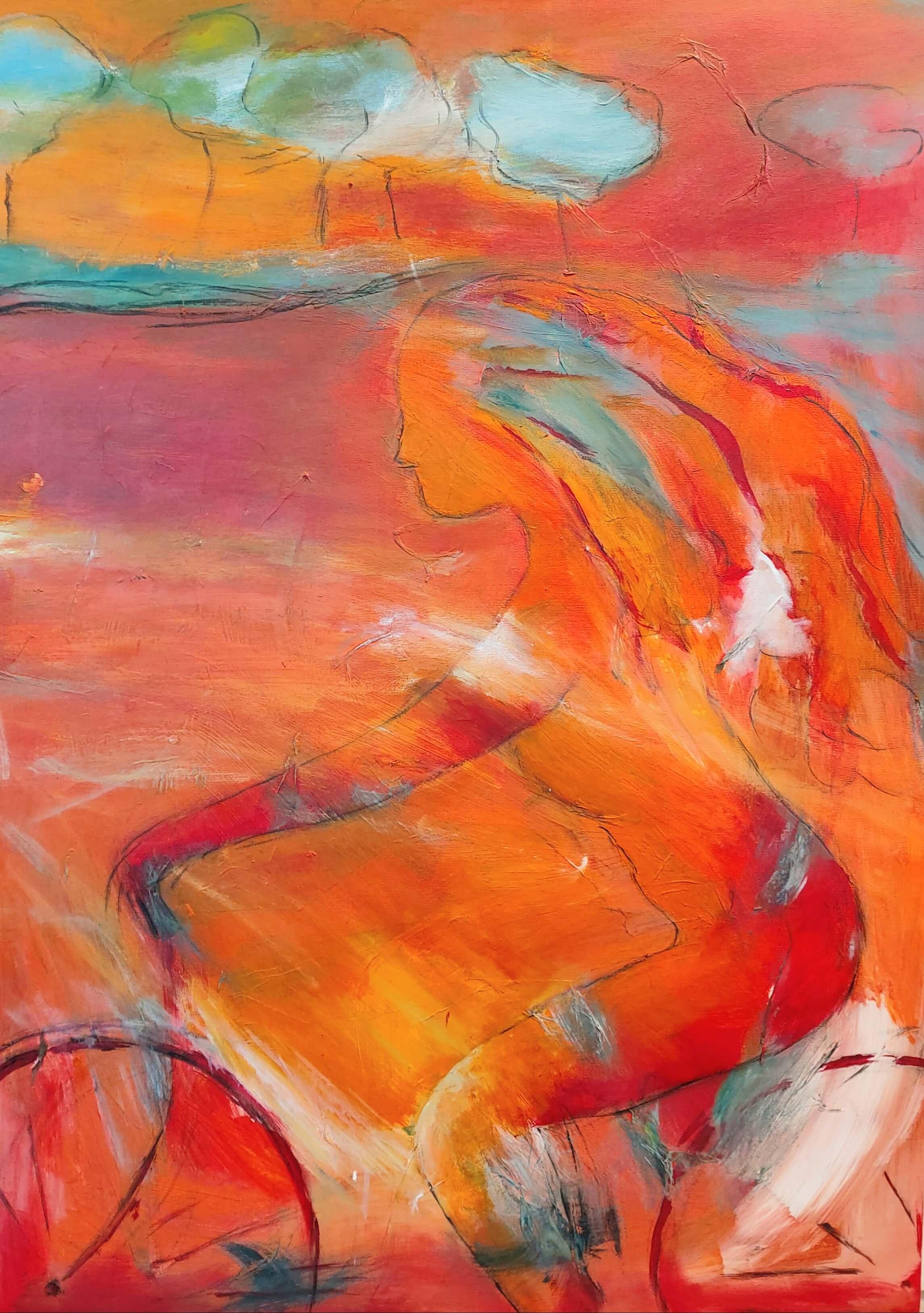 farverig let abstrakt Maleri En aften på cykel af Gunhild Rasmussen