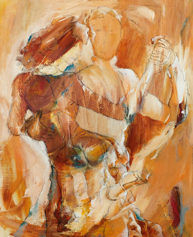Maleri med varme farver , En lille detalje i tango af Gunhild Rasmussen