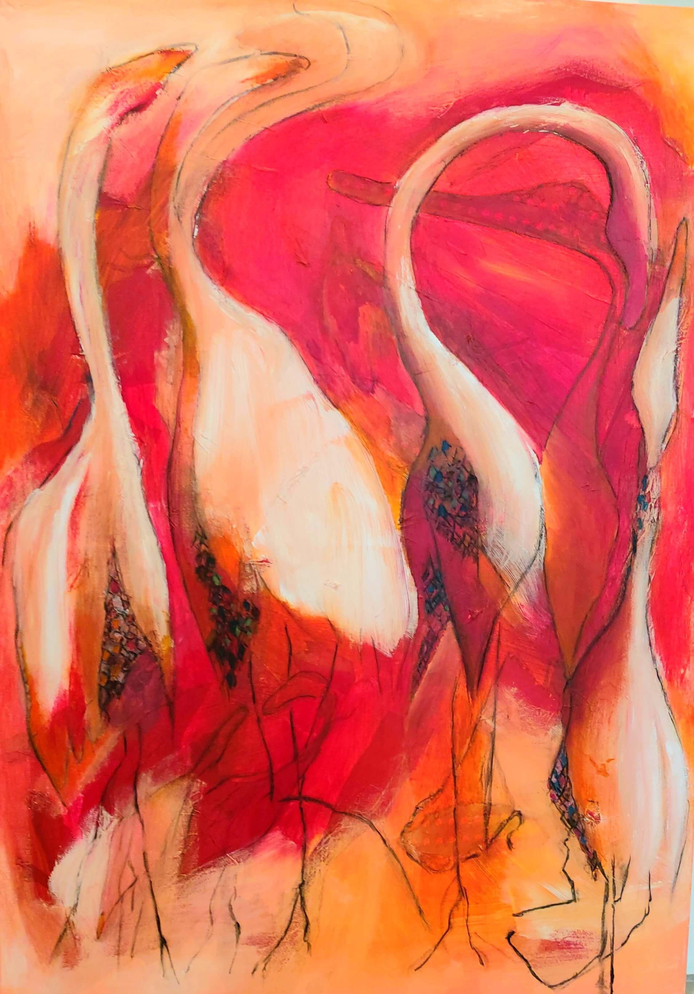 abstrakt og farverigt maleri Fugle af Gunhild Rasmussen