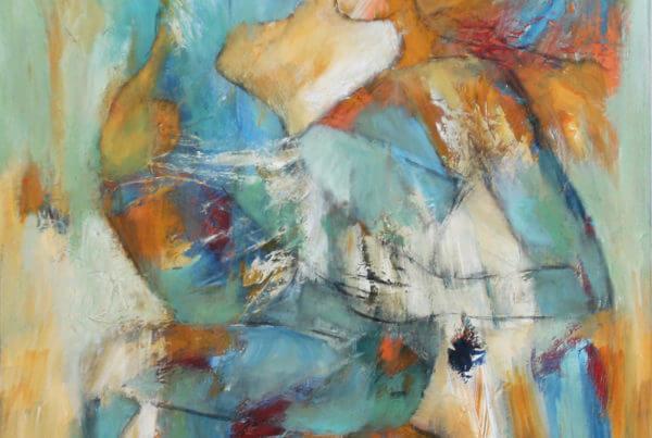 let abstrakt maleri Intensitet og styrke af Gunhild Rasmussen