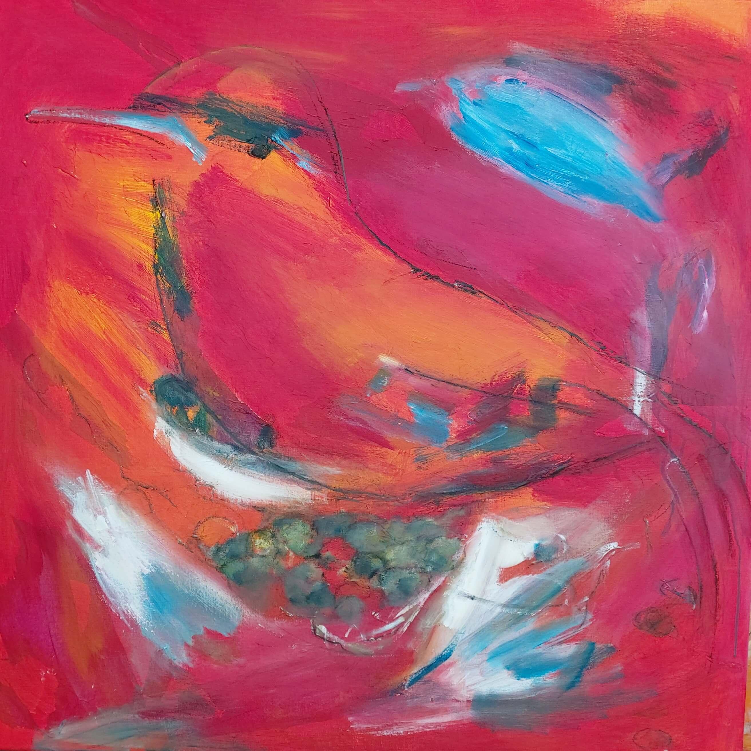 let abstrakt meget farverigt maleri, Rød Fugl af Gunhild Rasmussen