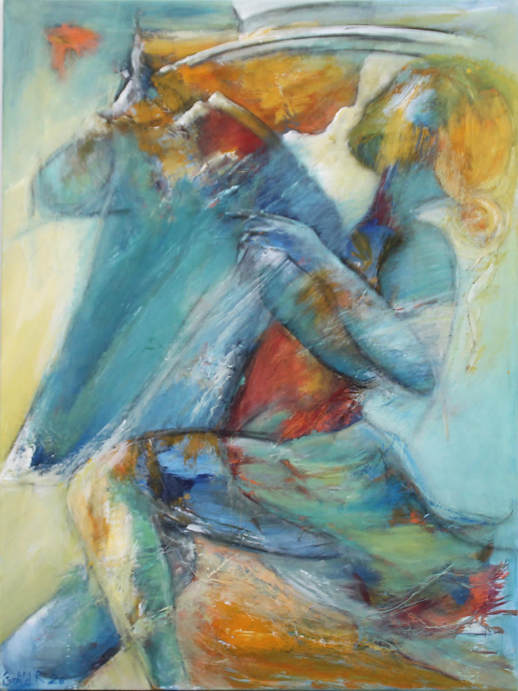 Maleri Blå tango af Gunhild Rasmussen