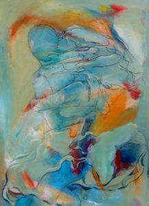 farverigt og abstrakt maleri af Gunhild Rasmussen