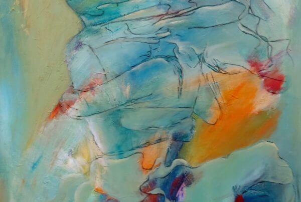 let abstrakt Maleri Vild med dans - I grøn klole af Gunhild Rasmussen
