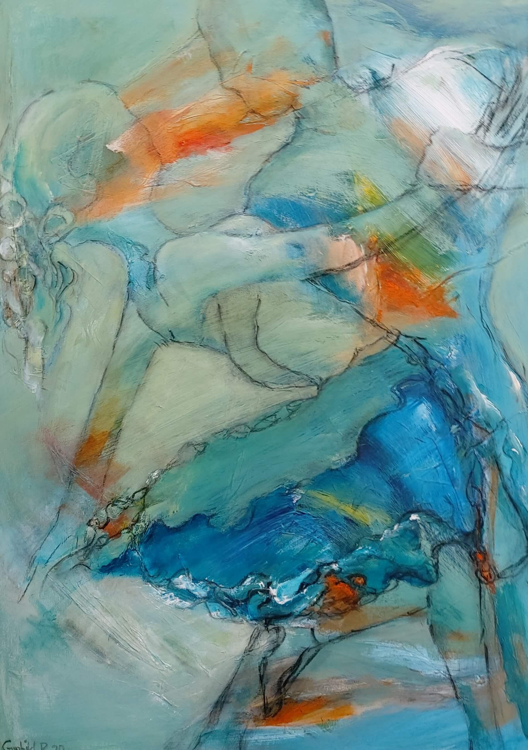 farverigt maleri i blå kjole af Gunhild Rasmussen