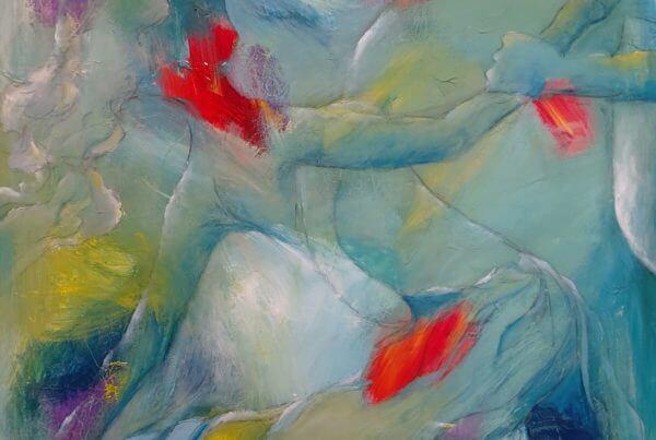 Farverig og let abstrakt maleri af par der danser , Dansende i lys blå af Gunhild Rasmussen