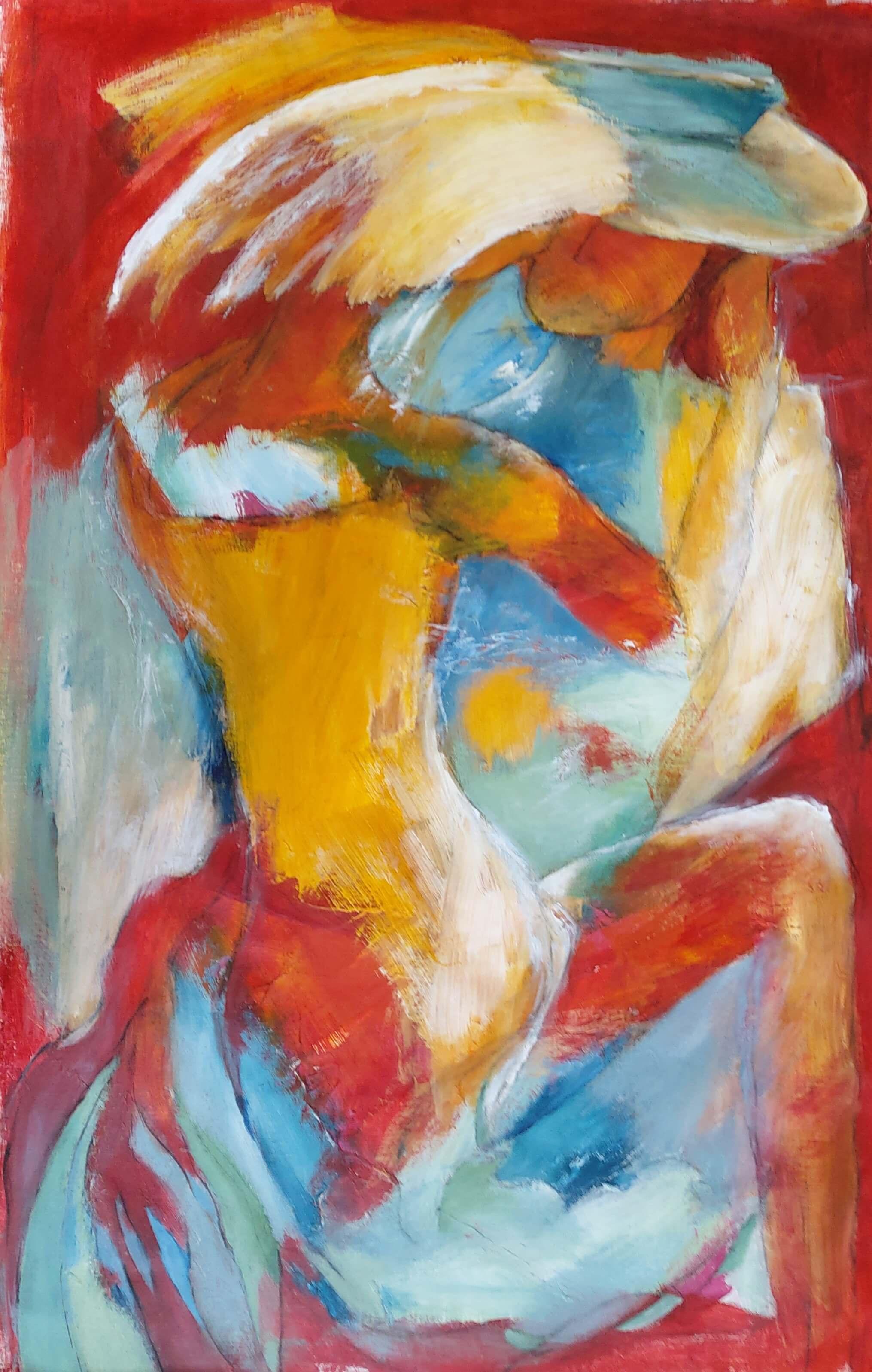 farverige Malerier, Dansende i gul kjole af Gunhild Rasmussen