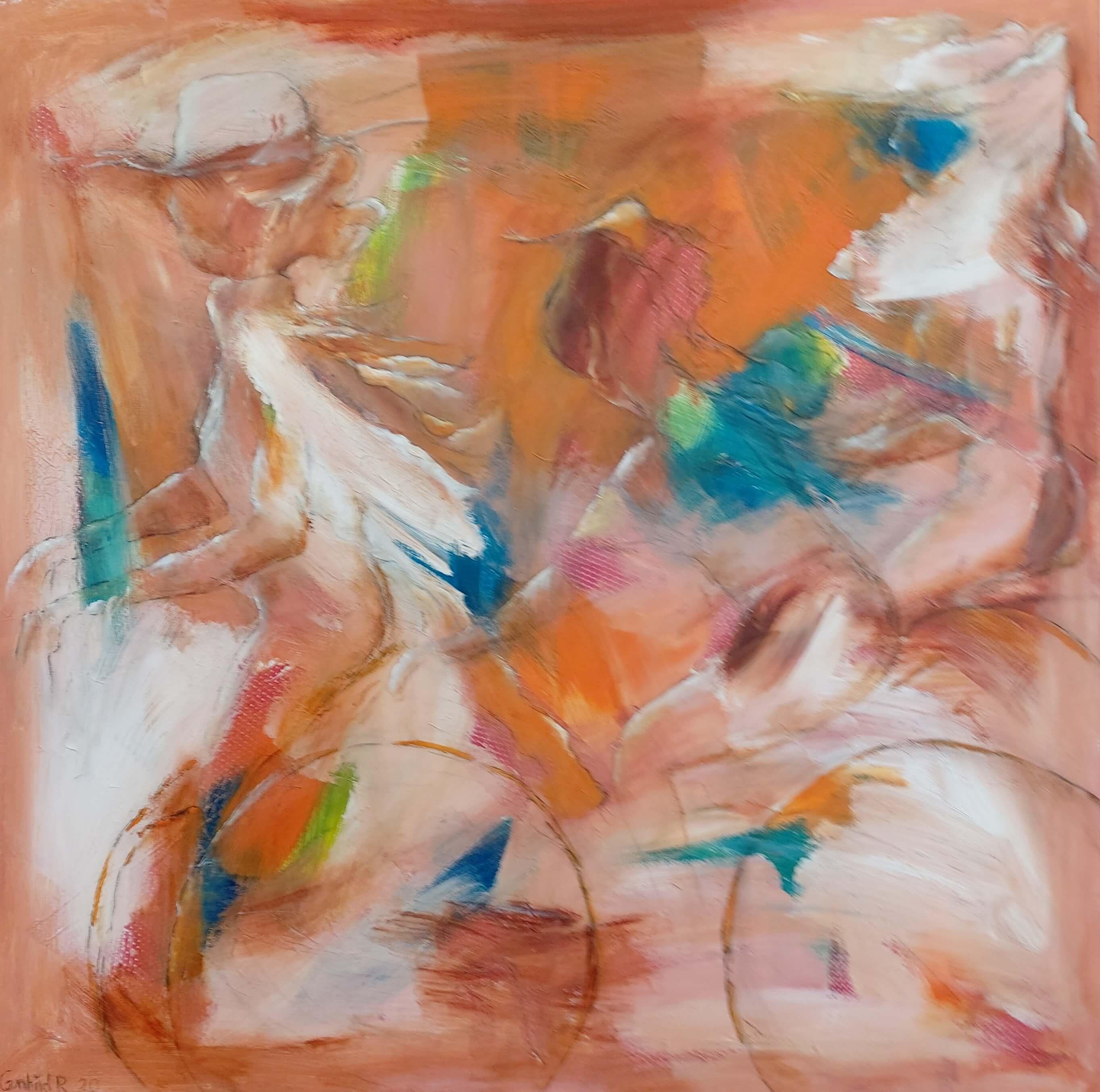 let abstrakt Maleri På cykel i drømme af Gunhild Rasmussen