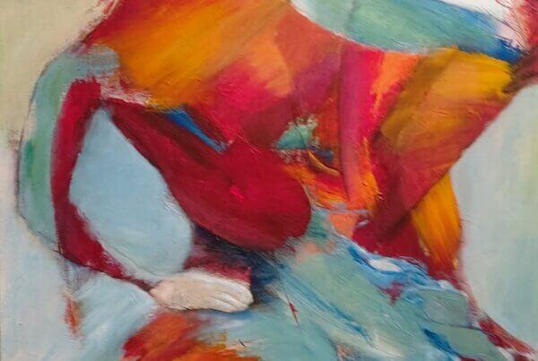Farverigt maleri, Festligt dansende af Gunhild Rasmussen