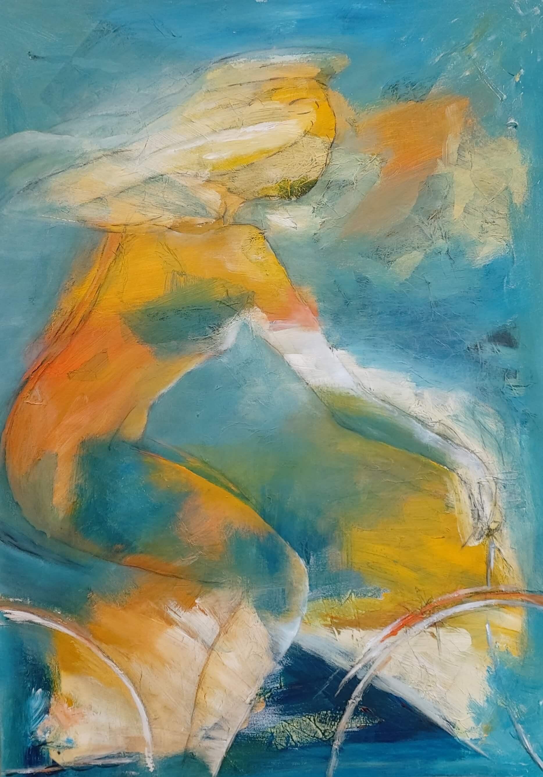 Let abstrakt maleri, På cykel ud i det blå af Gunhild Rasmussen