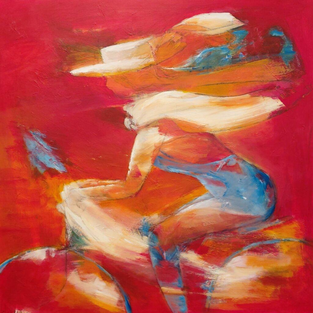 Farverige og let abstrakte Malerier, Cykeltur -i rød af Gunhild Rasmussen, Gunhilds Galleri