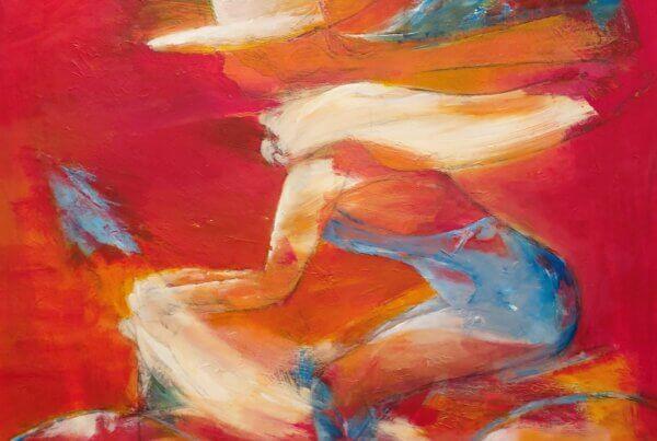 Farverige og let abstrakte Malerier, Cykeltur -i rød af Gunhild Rasmussen
