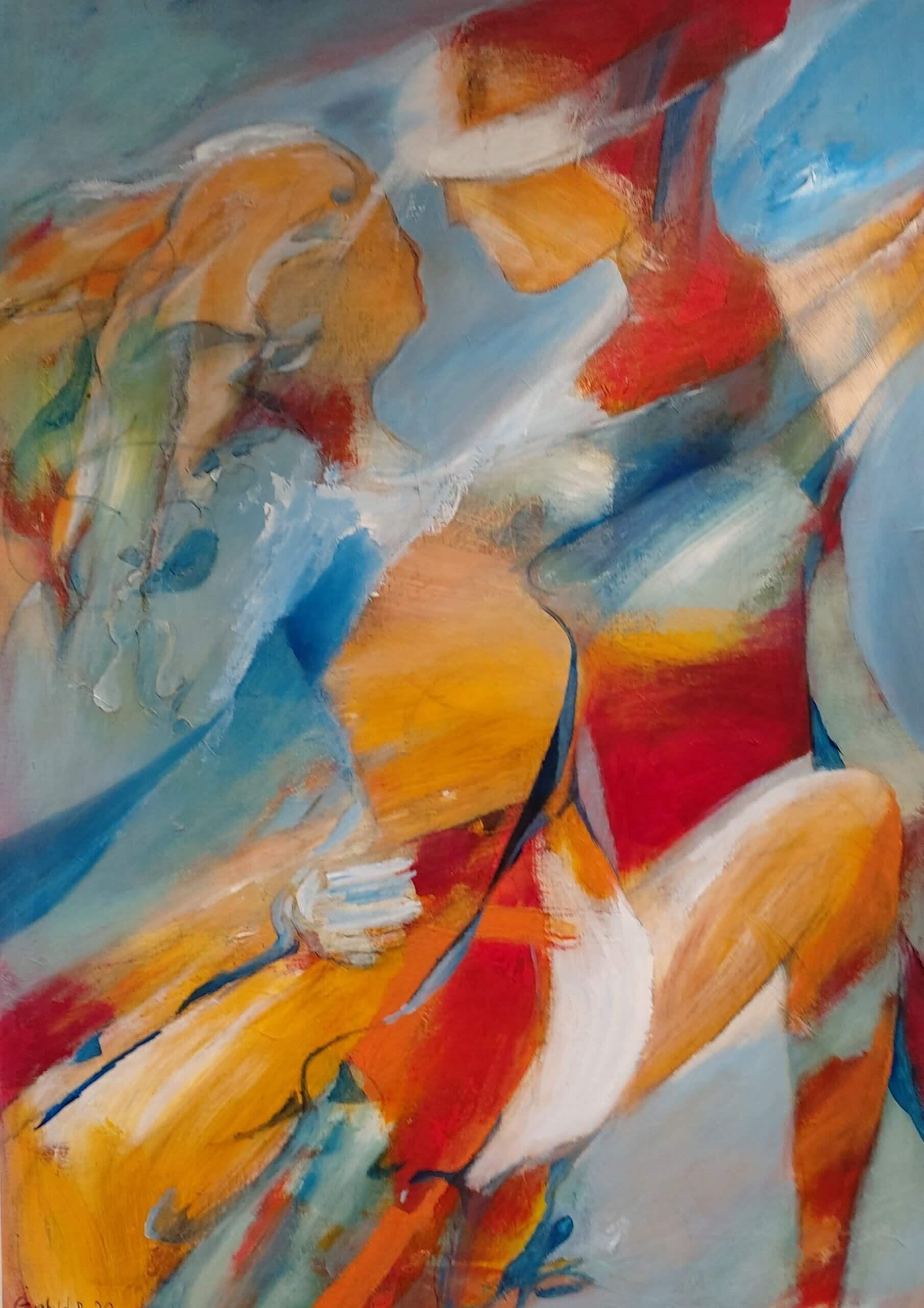 Farverig og let abstrakyt maleri Dansende i farver af Gunhild Rasmussen