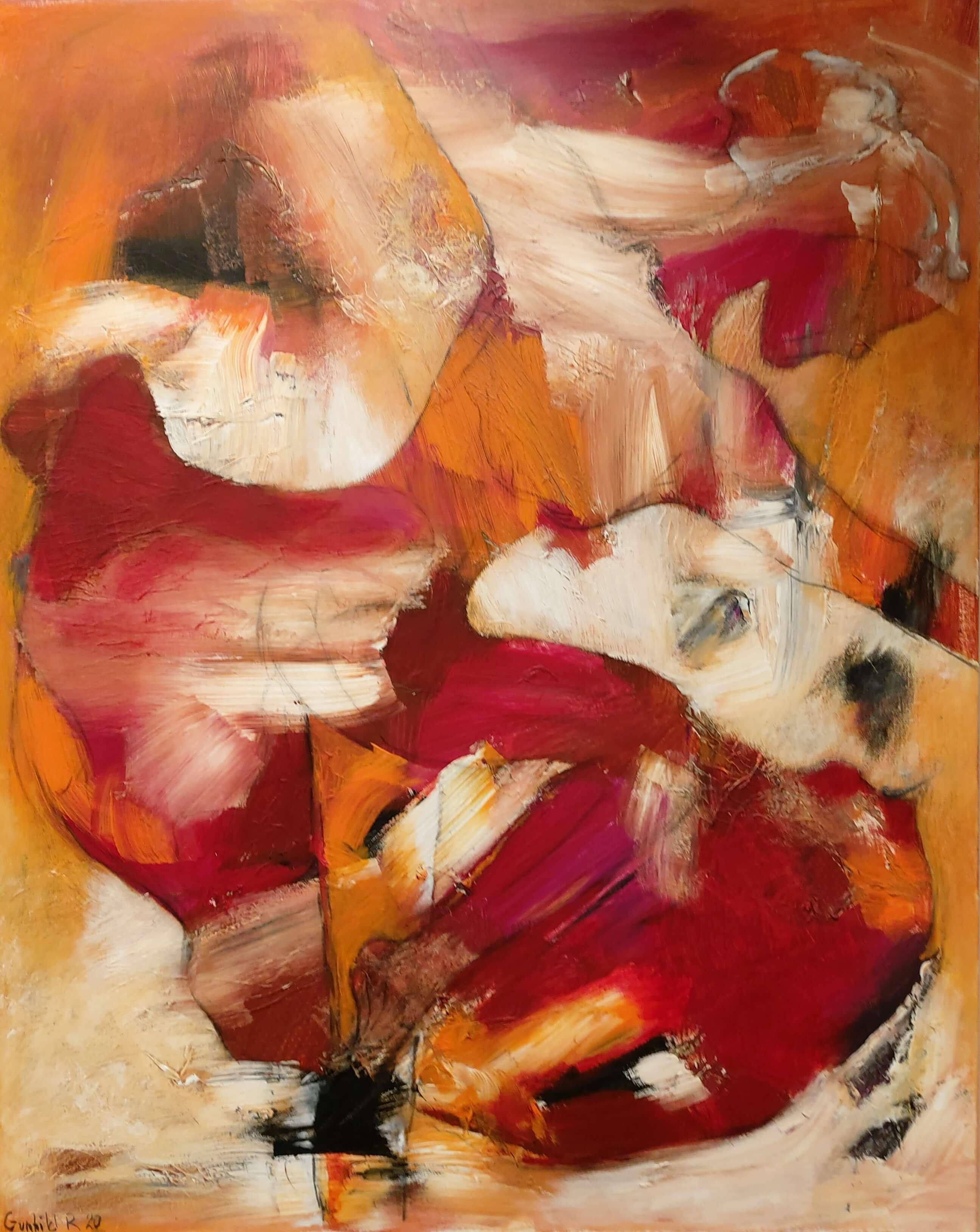 let abstrakt Maleri af pige i dans, Rød elegance af Gunhild Rasmussen