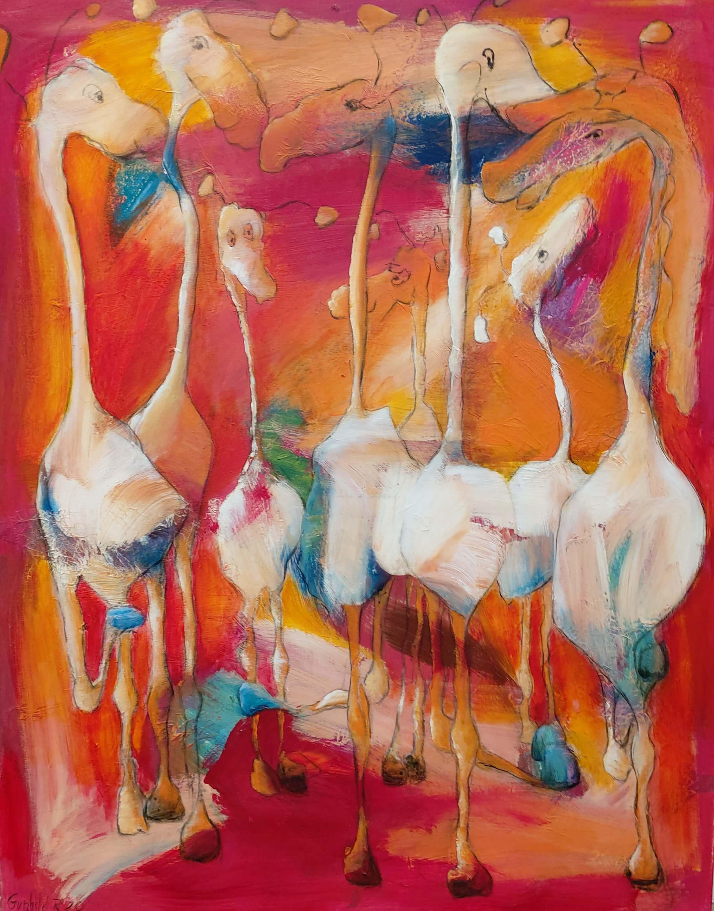 Finurlige og farverige figurer og dyr , maleri af Gunhild Rasmussen