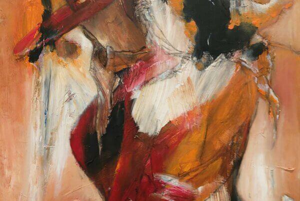 Let abstrakt maleri Lige her og nu af Gunhild Rasmussen