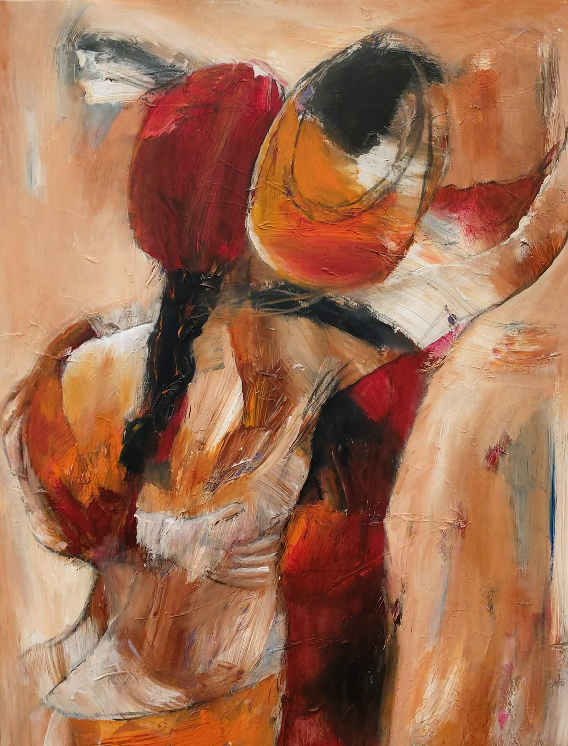 Let abstrakt maleri Sidste dans af Gunhild Rasmussen
