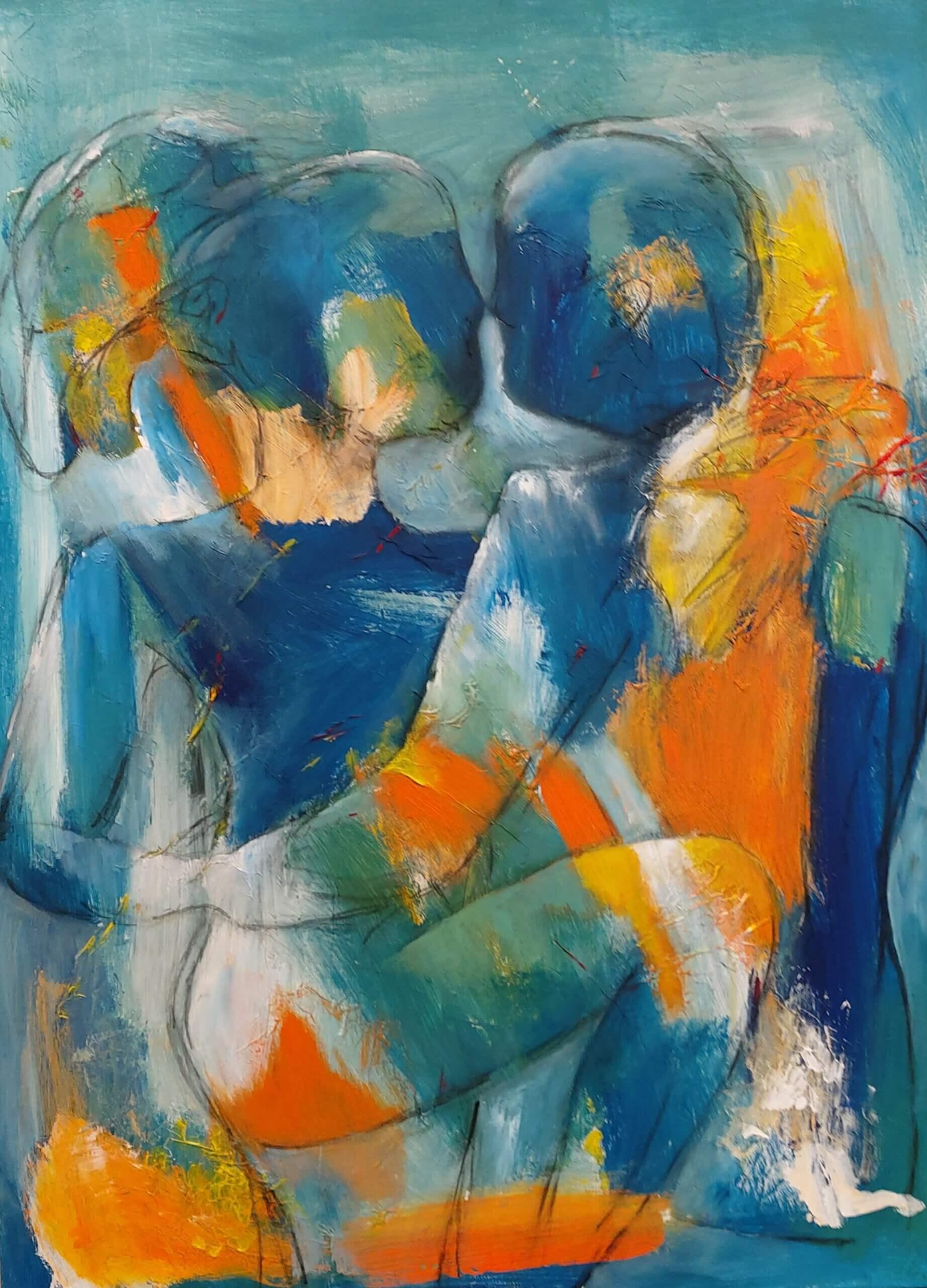 Farverig og let abstrakt maleri Blå passion af Gunhild Rasmussen