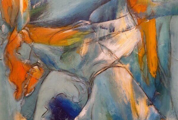 Farverigt maleri Dansende i blå af Gunhild Rasmussen